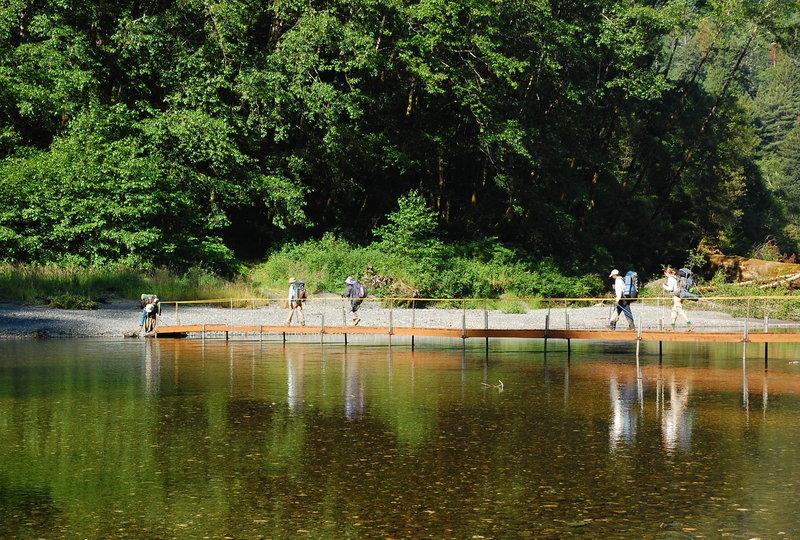 Boardwalks keep your feet dry, even when nearing the creek.