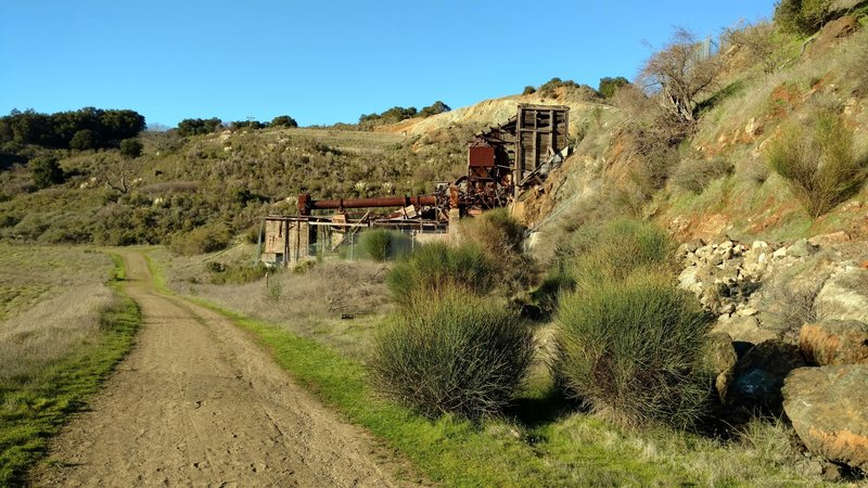 Getting close to the ruins of the Mine Hill Rotary Furnace - used to extract mercury from cinnabar in the early 20th century.
