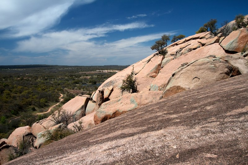 Between the Summit Trail and Echo Canyon Trail at Enchanted Rock looking west to the horizon.