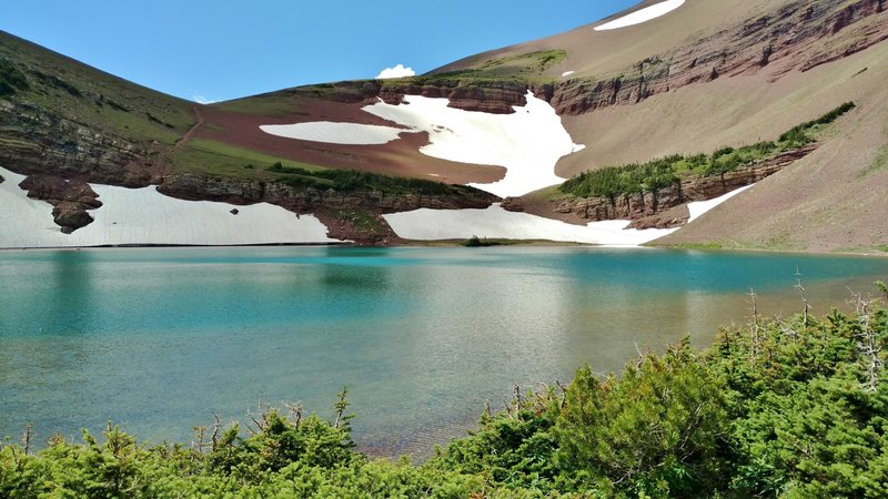 Carthew Lakes exhibit the beautiful blue-green water typical of a high-alpine lake.