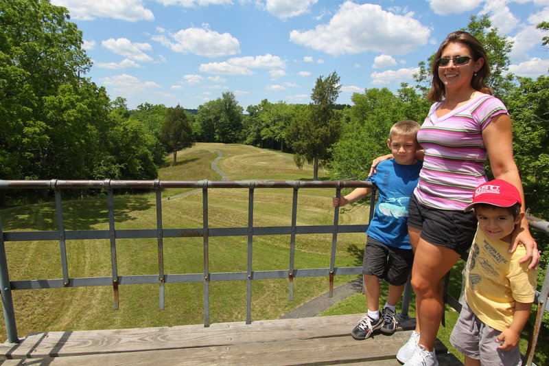 Gabriel, Celestina, and Alex enjoy the sights at Serpent Mound Historical Site.