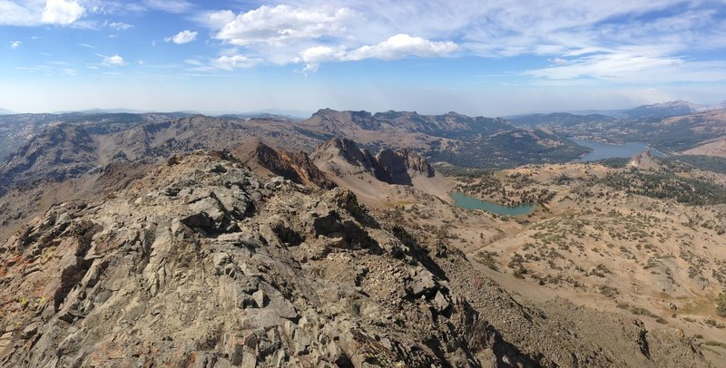 Looking back at Round Top Lake from the summit of Round Top.