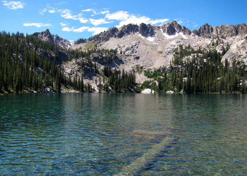 The view from the edge of Alpine Lake in the Sawtooth Wilderness.