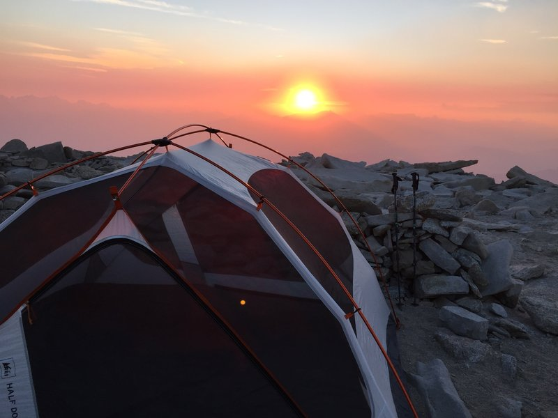 Sunset on the top of Mt Whitney.