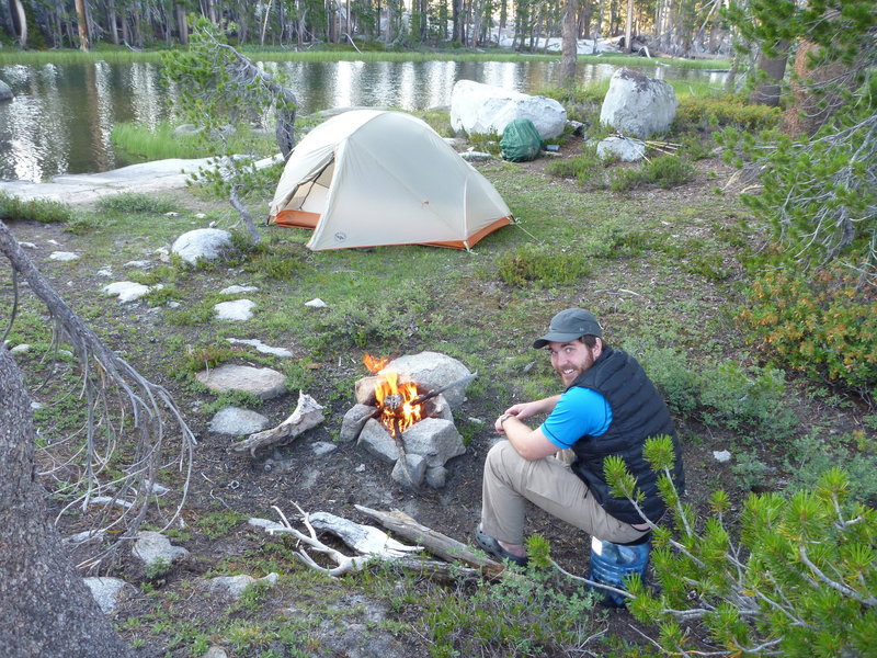 Outstanding campsite on Lower Merced Pass Lake. This is a little island in the lake that you need to cross natrual log bridges to get to.