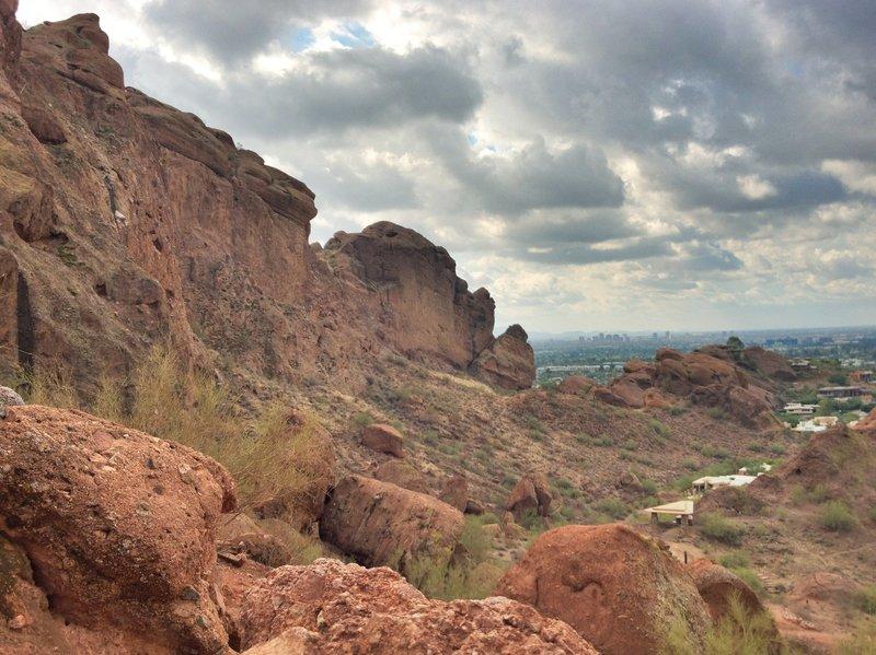 Camelback Mountain looking toward downtown Phoenix.