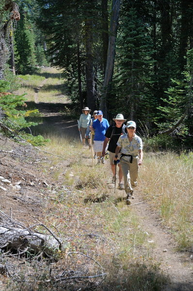 Our group hikes along Claim Jumper Trail in the Royal Gorge area of Donner Summit.