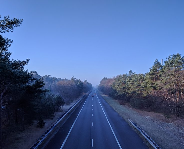 Crossing the highway provides an interesting perspective along The Lancaster Route.