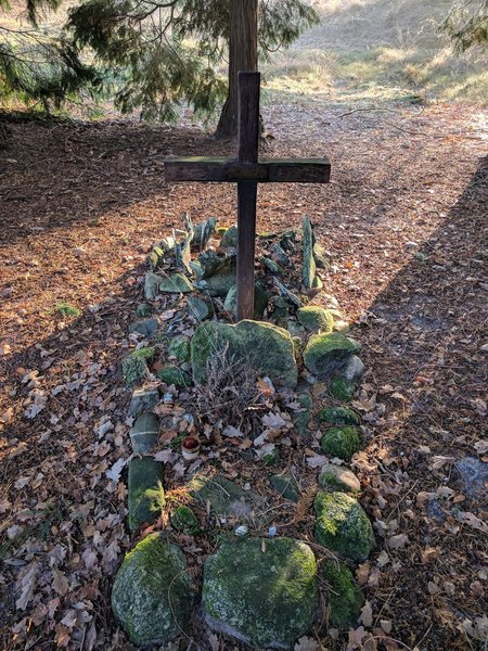A memorial remembers those lost in the crash of an RAF Lancaster bomber in 1943.