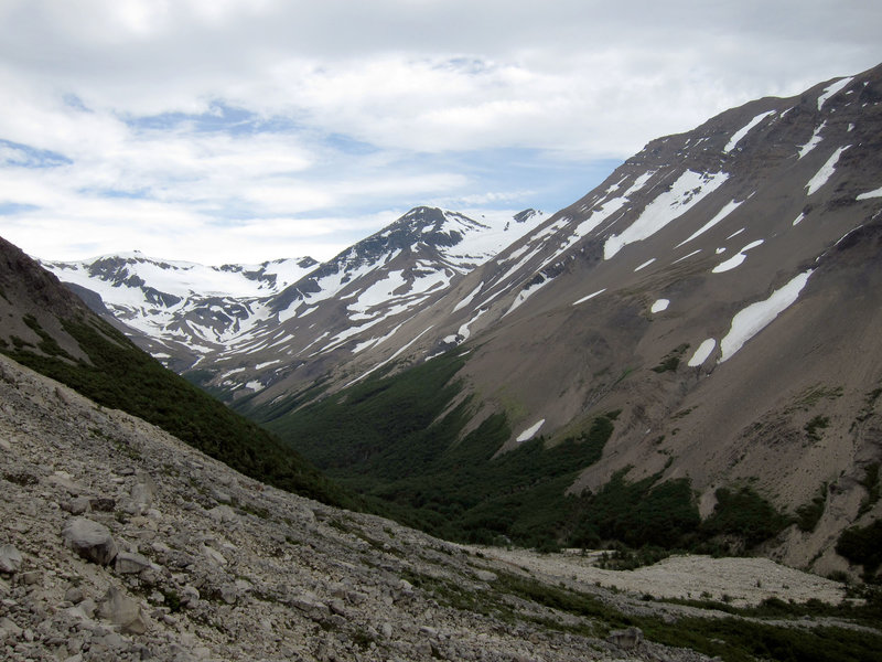 A barren, yet beautiful alpine-tundra landscape greets visitors on the climb to the Torres del Paine.