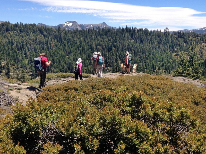 Hikers stop at an overlook along the Sterling Canyon Trail to take in the view of the Sierra Crest at Donner Summit.