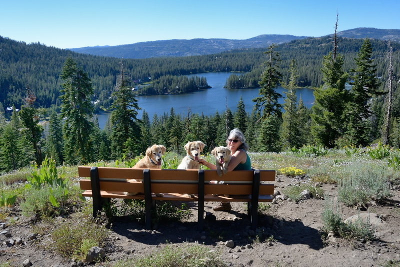 Furry hikers take in the view of Serene Lakes from an outlook along the Bogus Basin Trail.