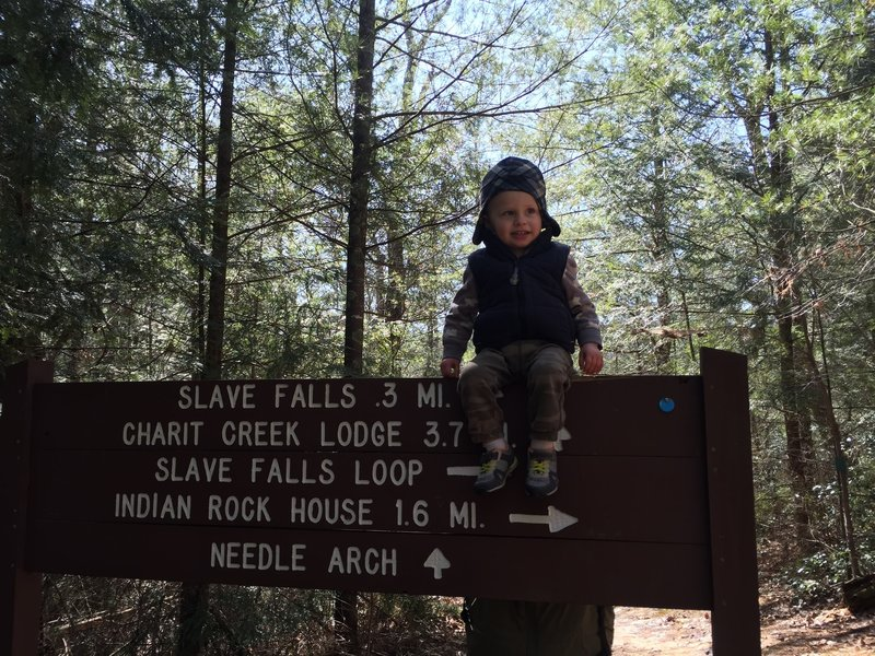 The back end of the Slave Falls Loop Trail takes you to the Indian Rock House.