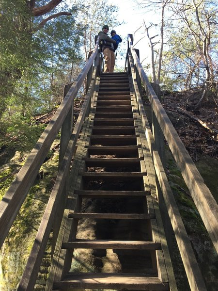 The Twin Arches loop trail has a set of steep stairs leading