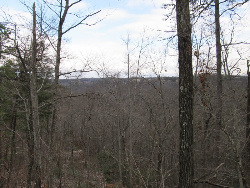 The end of Tunnel Ridge Road offers a scenic wintertime view of Courthouse Rock and the Auxier Ridge.