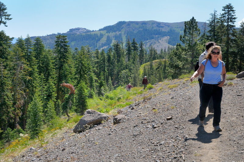 Hikers traverse the Forest Service Ridge Trail near Donner Summit.