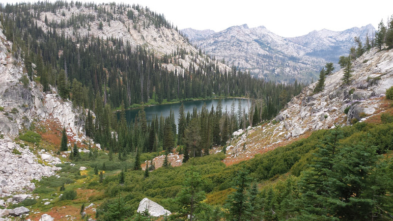 Snowslide Lake is quite picturesque from just below the summit.