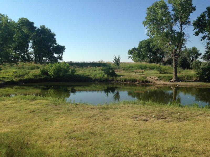 A fishing pond provides a peaceful accompaniment to the Vineyard Park Nature Trail.