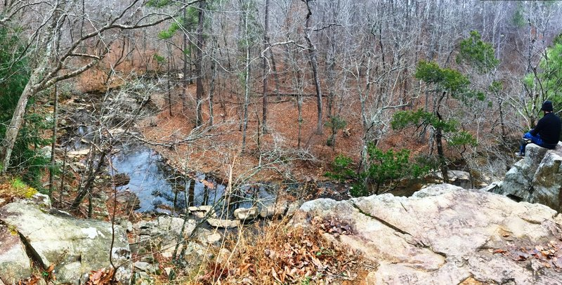 The Rhodo Spur Viewpoint offers a great look at the forested creek below.