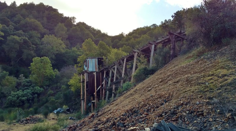 April Trestle (remnants seen here) carried cinnabar (mercury ore) in mining cars out of April Tunnel, which cut deep into Mine Hill.