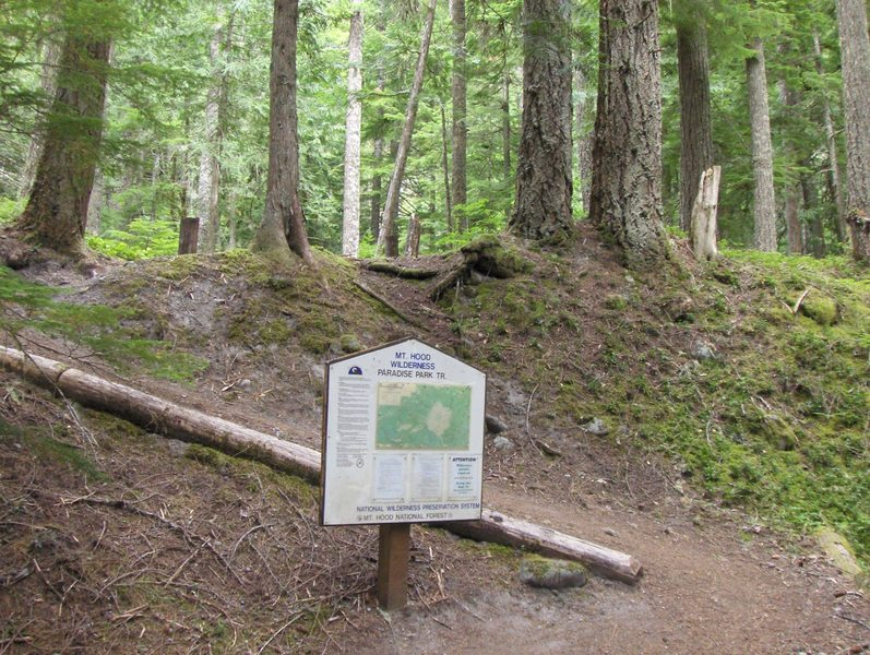 A sign marks the trailhead on the Paradise Park Trail. Photo by USFS.