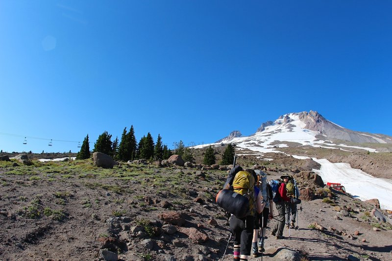 A group of hikers heads to Mt. Hood on the Mountaineer Loop Trail.