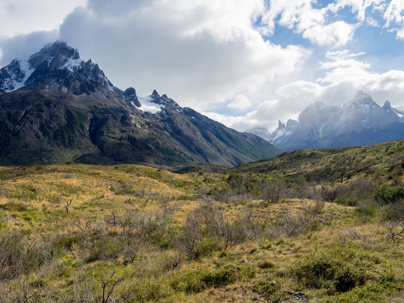 Every time you look over your shoulder on the Paine Grande Trail and see this view, I guarantee you'll be dumbstruck. Paine Grande is seen left, Valles Frances center, the Torres right-center, and the Cuernos far right.