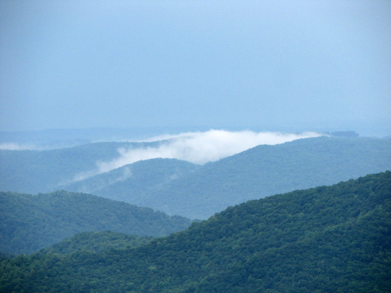 Clouds hang low in the valley along Alligator Back on the Blue Ridge Parkway.