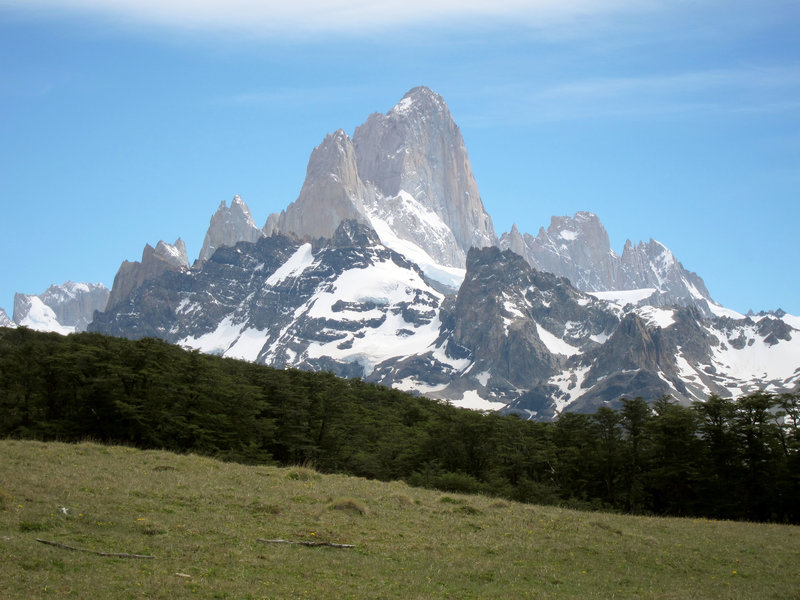 A view of Mt. Fitz Roy is always just a look over your shoulder away on the path to Loma del Pliegue Tumbado.