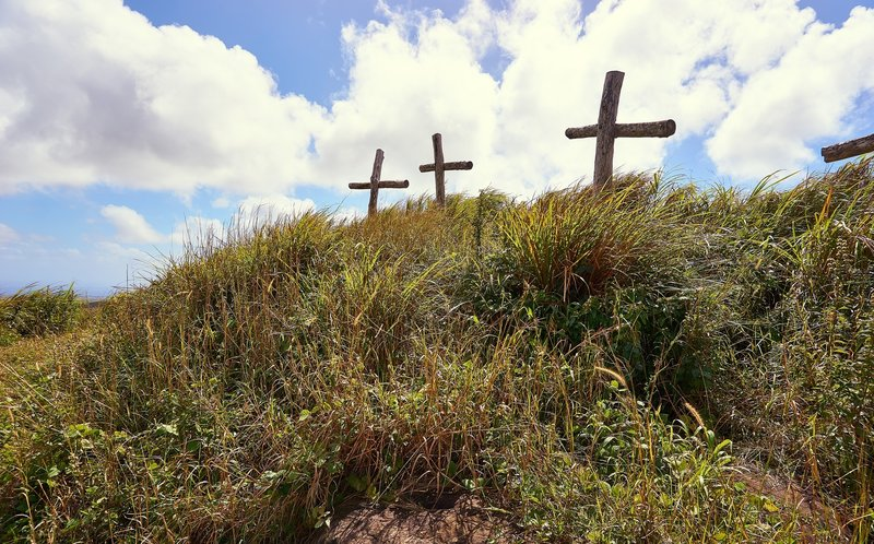 The crosses have been placed up here by a local church and do not represent graves.