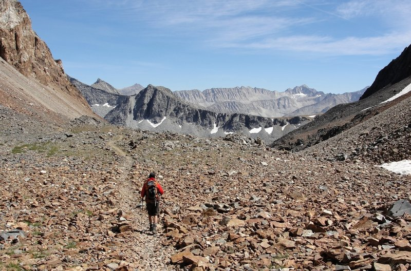 Hiking down to McGee Lakes from McGee Pass.