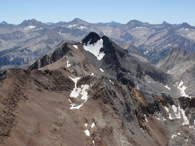 The epic view of Red and White Mountain from the summit of Red Slate Mountain.