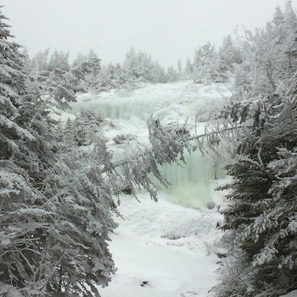 Frozen waterfalls greet visitors to Ammonoosuc Ravine.