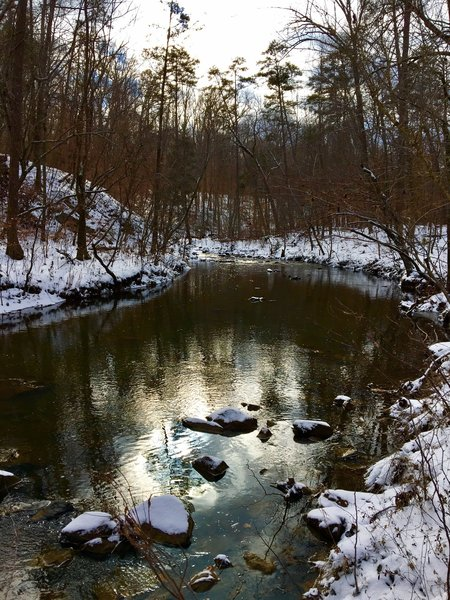 A rare snowy day makes for a nice treat on New Hope Creek.