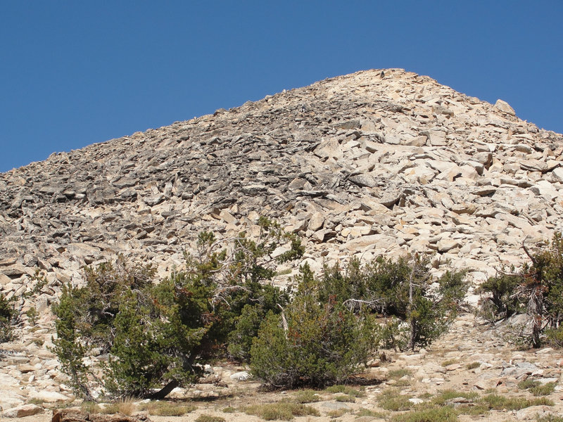 The rocky summit cone of Pyramid Peak makes for a spicy scramble.