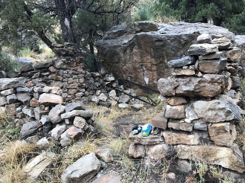 This is all that's left of the old cabin on the Dog Canyon Trail...