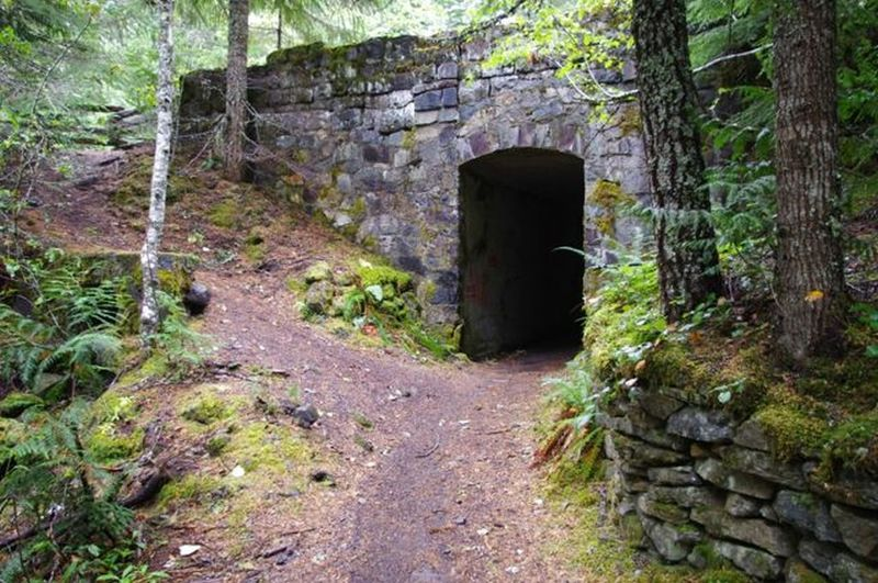 This is the tunnel under the old historic highway on Pioneer Bridle Trail. Photo by John Sparks.