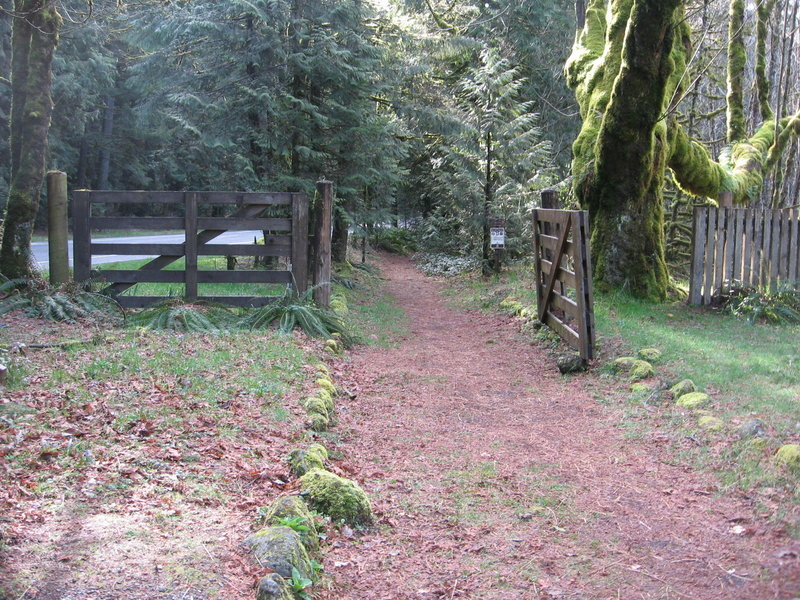 The Historic Barlow Tollgate is at the west end of the Pioneer Bridle Trail. Photo by USFS.