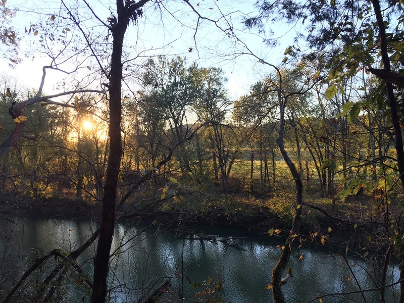 Sun sets on the Harpeth River in late November.