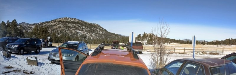 The Upper Three Sisters Parking Area offers plenty of parking and meadow views, especially on bluebird days.