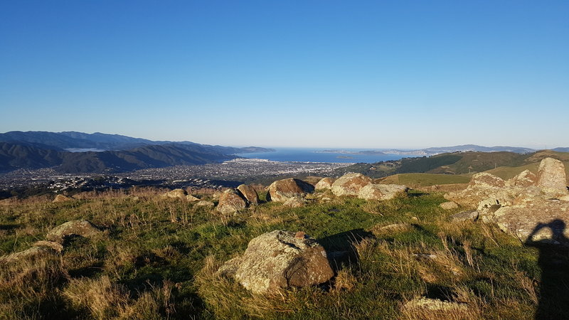 Looking south from Boulder Hill, the view encompasses the mountains and inlets surrounding Lower Hutt and Petone.