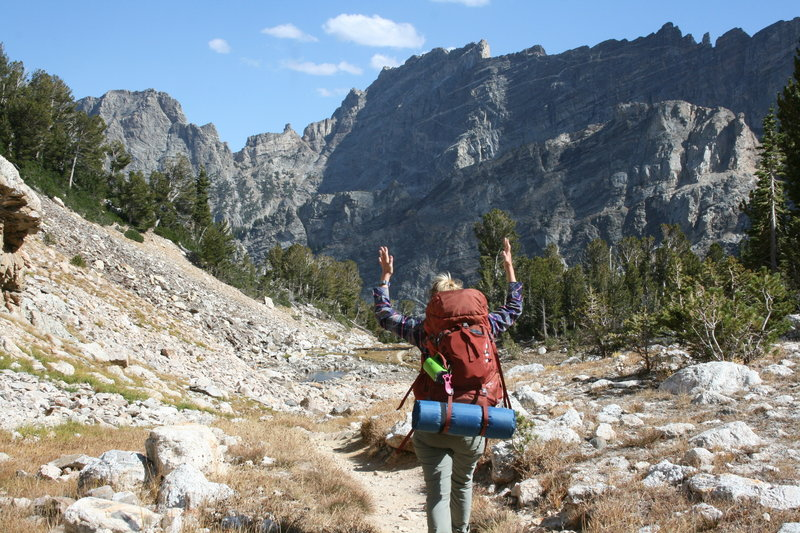 Spirits are high as we head down Upper Paintbrush Canyon on Day 4 of the Teton Crest Trail.
