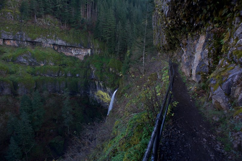 Elowah Falls looks beautiful from the Upper McCord Creek Falls Trail. Great views of the falls and Columbia River Gorge can be found on this section of the trail.