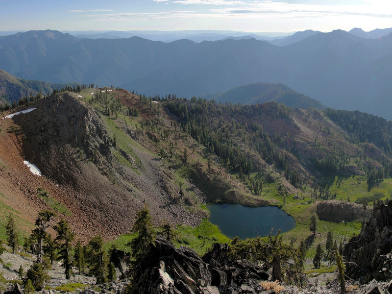 Diamond Lake can be seen from the summit of Siligo Peak.