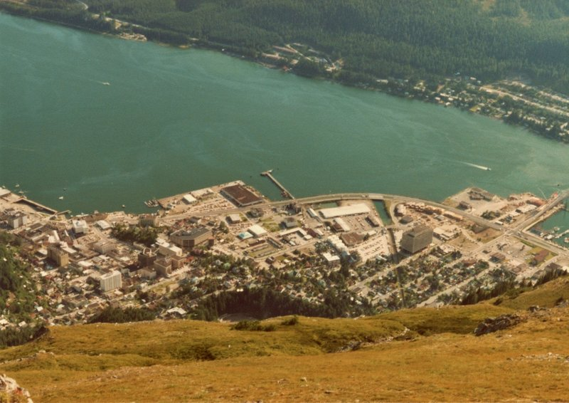 The town of Juneau looks tiny from the summit of Mt. Juneau.