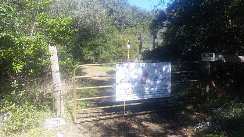 A gate ushers you onto Baldwin Ranch Road.