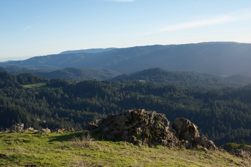 From the summit, you can see the surrounding Santa Cruz Mountains.