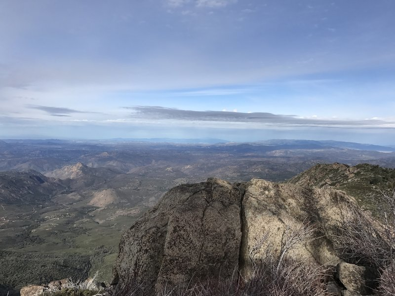The view north from Cuyamaca Peak was cloudy and beautiful on a day in January 2017.