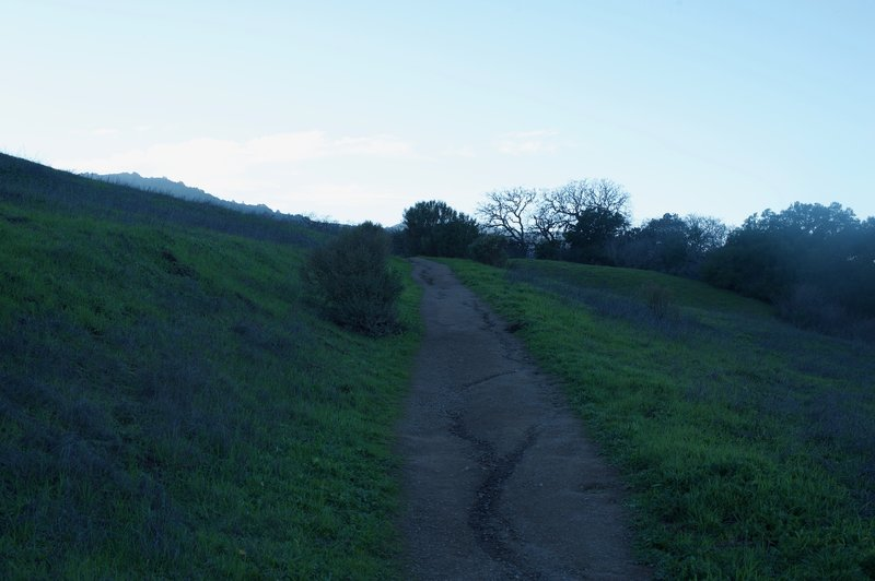 The trail, as it ascends the hill, is made up of crushed gravel and packed dirt.