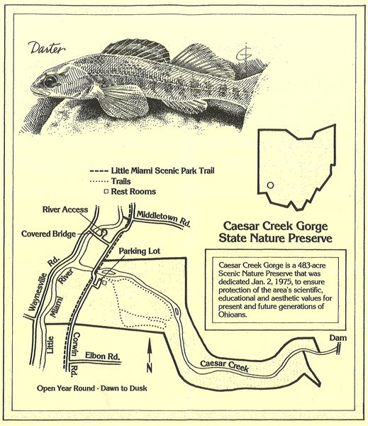The trail map is posted near the parking area.